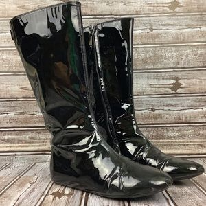 Burberry Black Patent Leather Mid Calf Boots 5.5